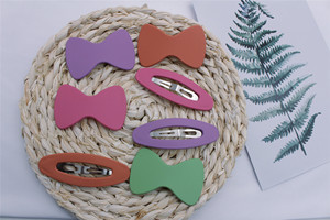 2Pcs/SetSpring And Summer Matte BB Clip Bow Ellipse Simple And Cute White Hair Accessories