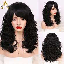 Aiva cabelo resistente ao calor peruca sintética com bnags glueless preto não-laço peruca longa ondulado cosplay perucas sintéticas para preto
