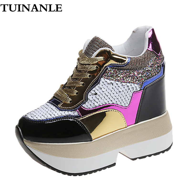 TUINANLE Platform Sneakers Women <font><b>12</b></font> CM High Heel Ladies Ankle Wedge Shoes Silver Bling Symphony Leather <font><b>Sexy</b></font> Sequined Sneakers image