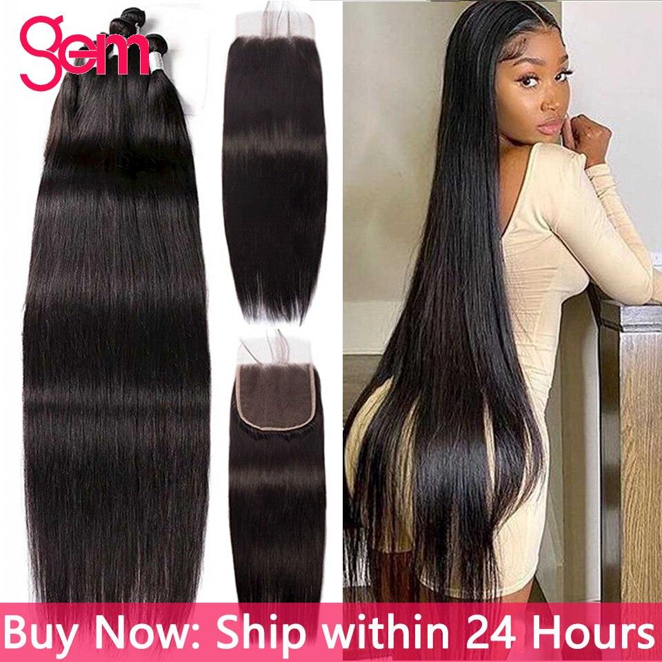 Прямые пряди 30 дюймов, прямые человеческие волосы на пряди кости прямые волосы пряди 1/ 3 Связки черные перуанские волосы для наращивания