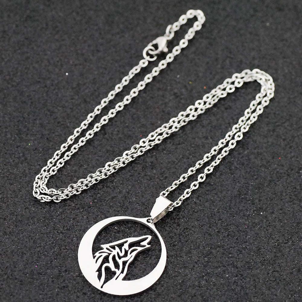 Stainless Steel Melolong Menggeram Serigala Liontin Kalung Punk Fashion Totem Hollow Hewan Kalung Totem Pria Unisex Semangat Perhiasan