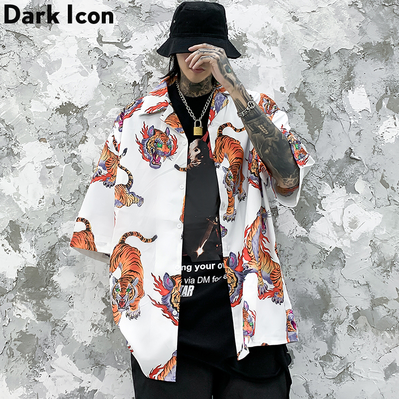 Dark Icon Turn-down Collar 3D Tiger Shirt Men Summer Hawaiian Short Sleeve Blouse Streetwear Clothing