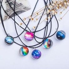 цена на Handmade Glass Ball Planet Universe Starry Sky Galaxy Pendant Necklace Women Men Fashion Time Gem Jewelry Accessory