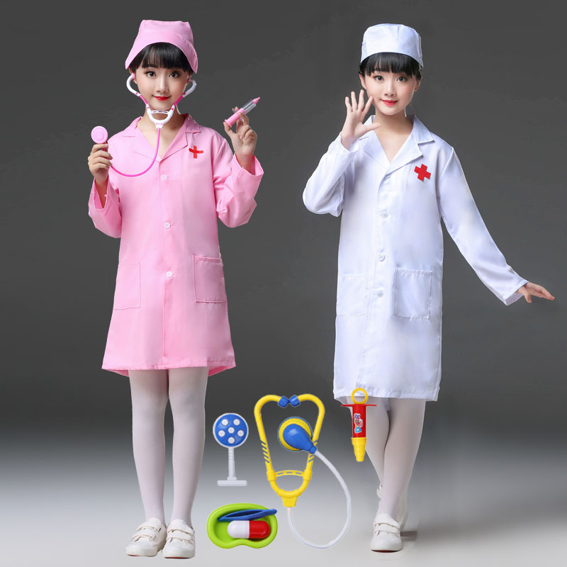 Kids Carnival Role-play Nurse Cosplay Costumes Children Medical Uniform For Toddler Boys Doctor Coat Gown Halloween Party Wear