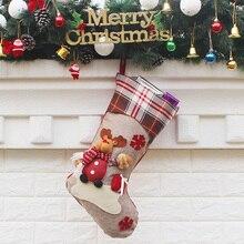 Christmas Stocking Santa Claus Gift Socks Candy Bag Xmas Tree Hanging Ornaments new hanging ornaments pattern christmas candy bag drawstring backpack