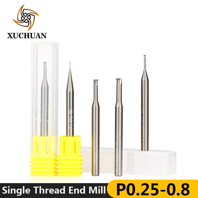 P0.25-P0.8 Single Thread End Mill 4mm Shank CNC Router Bit Carbide End Milling Cutter D0.7/1.55/2.35/3.15/3.9 Thread Mills