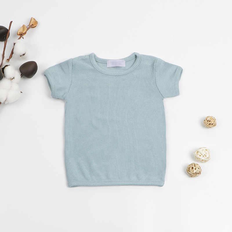 2020 קיץ יילוד תינוק T חולצות מצולע בנות למעלה Tees קצר שרוול לבן שחור כותנה T חולצה לילדים ילד ילדה בגדים