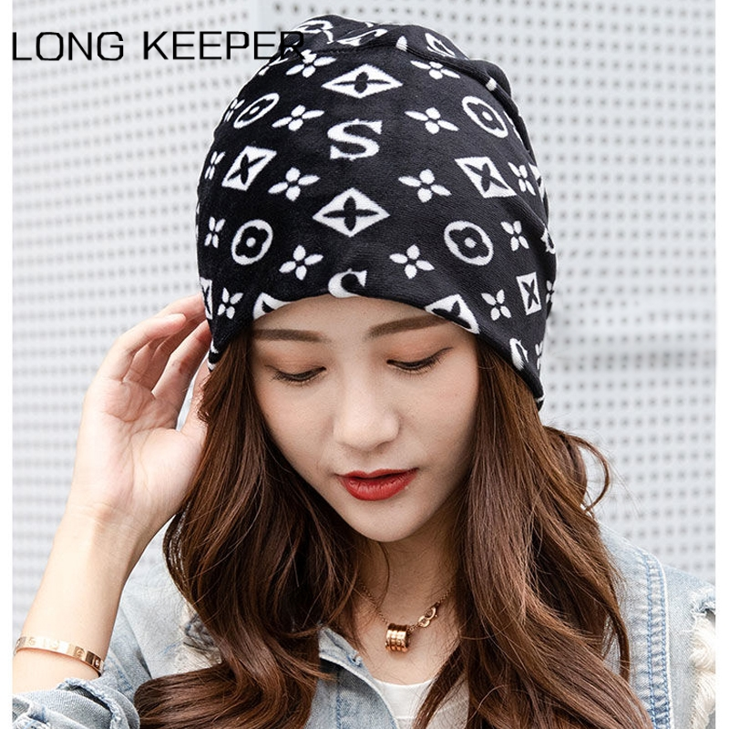LongKeeper Fashion Beanies Women Slouchy Hat Hip Hop Scarf Hats For Ladies Spring Autumn Summer Black Skullies Cap Mask