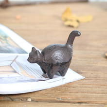 Rustic Mini Cat Dog Pig Cow Elephant Camel Rhinoceros Unicorn Figurines Cast Iron Paper Weight Home