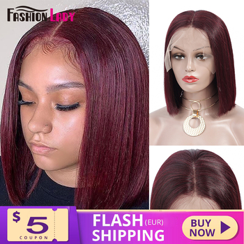 AliExpress - 47% Off: Fashion Lady Red 99j Lace Front Human Hair Wigs Brazilian Short bob lace Front Wigs Pre Colored Remy Human Hair Wig