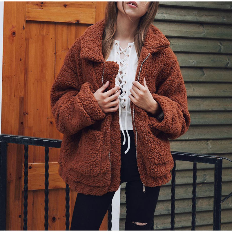 Elegant Warm Soft Zipper Fur Coat Jacket 14