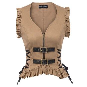 Kobiety kurtka topy odzież klubowa fajne Sexy Slim Steampunk rozpinany płaszcz bez rękawów marszczony brzeg sznurowanie Hip Rock gotycki płaszcz nowy