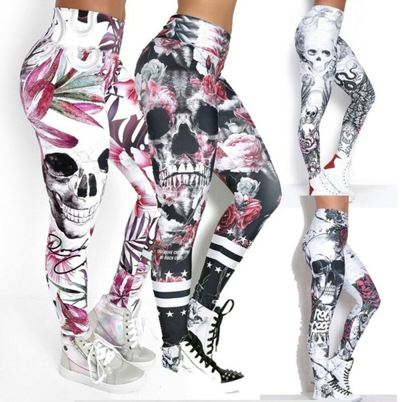 Halloween Sport Leggings Laufen Running Exercise Gym Jogging Pants Skinny Workout Hosen Fitness Stretch High Waist S-XXL