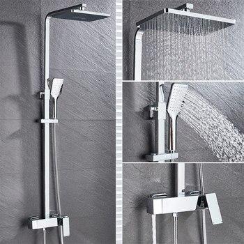 Bathroom Faucet Chrome/Black Rain Shower Head Bath Faucet Wall Mounted Bathtub Shower Mixer Tap Shower Faucet Shower Set Mixer 8