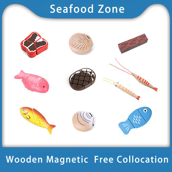 [Toy Woo] Toys Kids Kitchen Educational Wooden House Simulation Wooden Fish Meat Seafood Montessori Education Kitchen Toys Gifts hawksmoor at home meat seafood sides breakfasts puddings cocktails