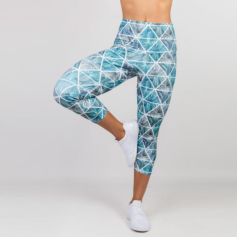 Women Sport Leggings Elastic High Waist Cropped Yoga Pant 3D Printing Quick Dry Capris Girls Gym Fitness Running Tights Leggings