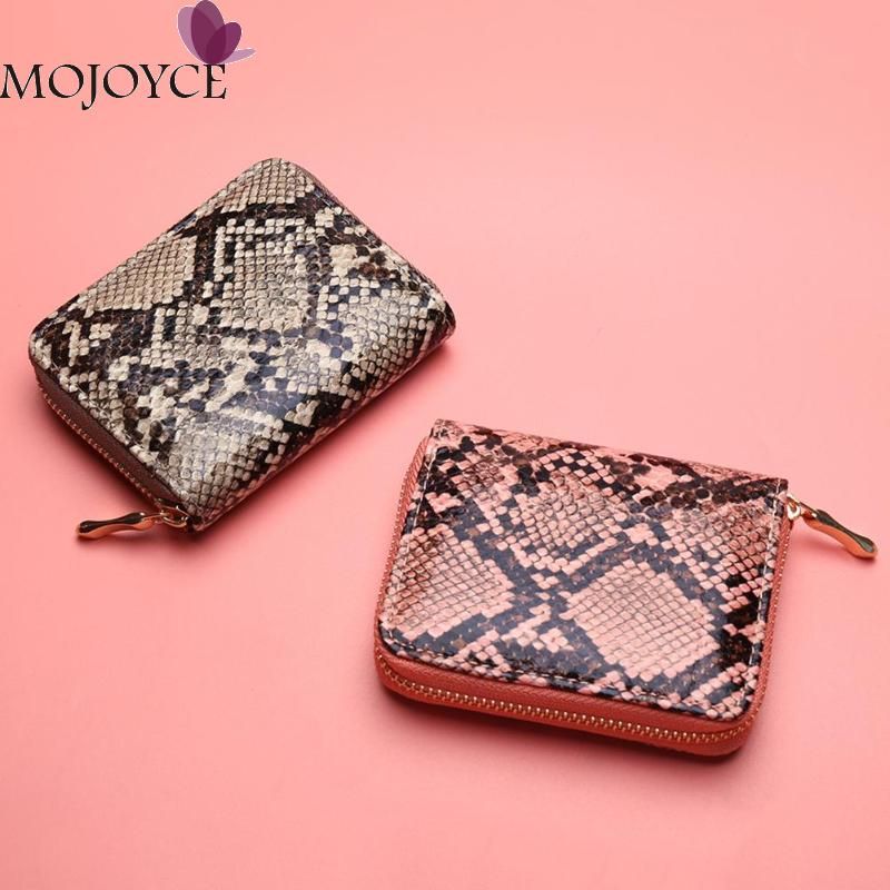 Fashion Snake Print PU Leather Clutch Women Short Purse Female Serpentine Casual Small Zipper Wallet Card Holder