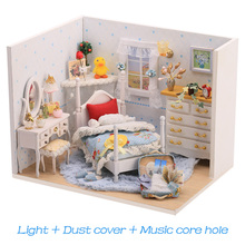 Miniature Dollhouse Wooden DIY for Children Bestist-Series Gift Toys Puzzle-Kit 3d-Lights