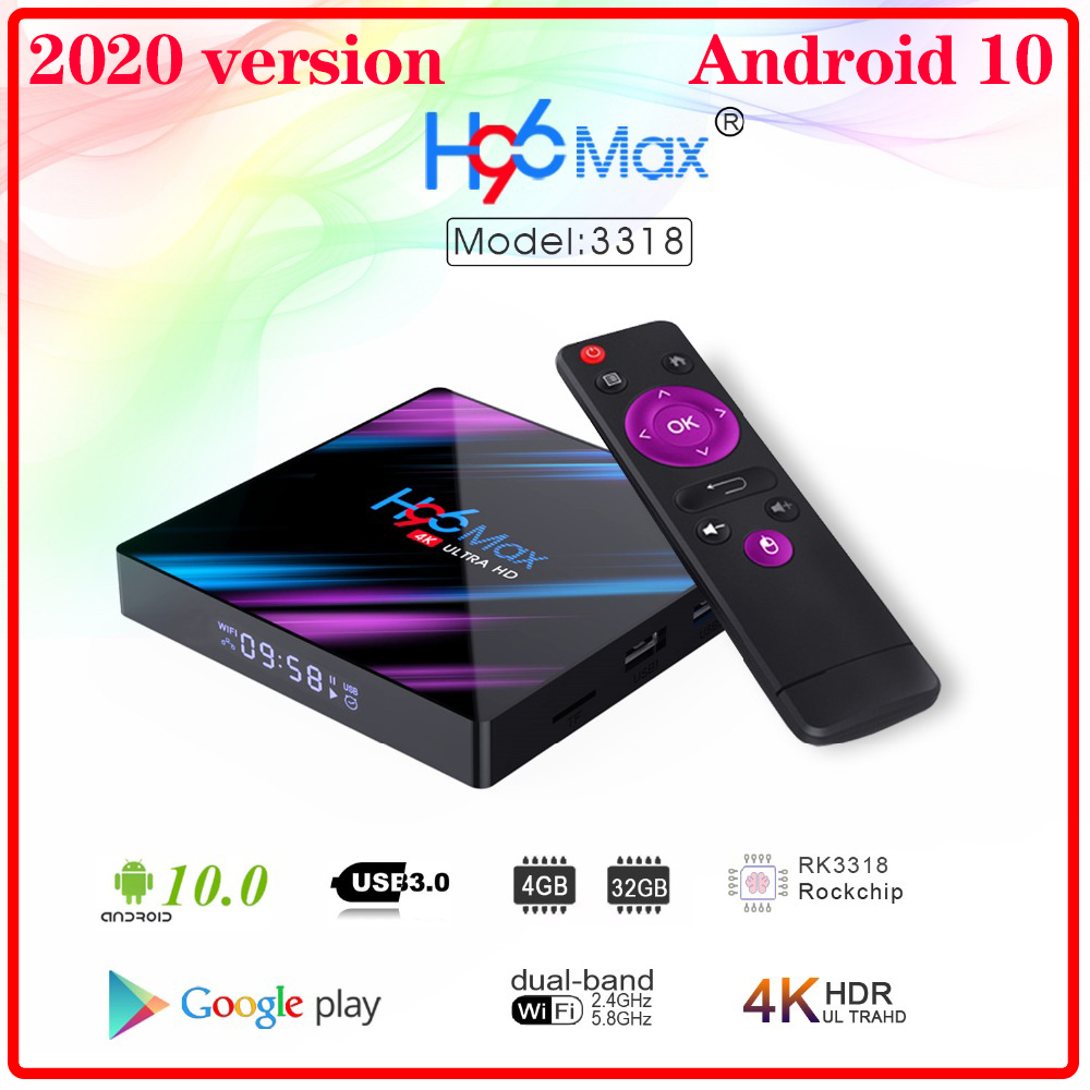 2020 H96 MAX RK3318 Smart TV Box Android 10 0 4GB 32GB 64GB 4K Youtube Media player H96MAX TVBOX Android TV Set top box 2GB16GB
