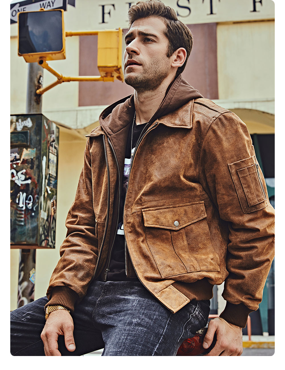 H816ad3fbfe5443a983d1f0fa0fb25ef3w FLAVOR New Men's Genuine Leather Bomber Jackets Removable Hood Men Air Forca Aviator winter coat Men Warm Real Leather Jacket