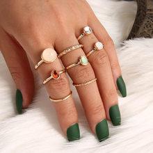 8 Pçs/set Boho Do Vintage Anel de Fadas Amigos Coloridos Anéis de Pedra Anéis de Dedo Da Forma Metálica Coréia Bater para Mulheres Party Girl