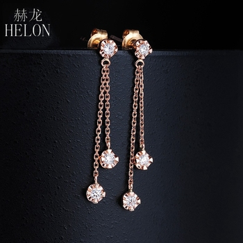 HELON Solid 18K Rose Gold AU750 0.15ct H/SI Natural Diamonds Engagement Wedding Women Trendy Fine Jewelry Gift Stud Earrings 3