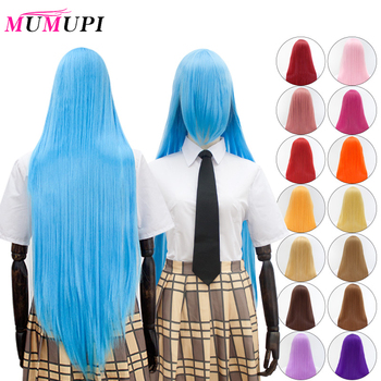цена на MUMUPI 23 Color Long Straight Cosplay Wigs with Bangs Synthetic Blue Pink Lolita Wig Easy To Match Anime Party Wigs for Women