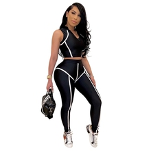 Women 2 Pieces Set Fitness Tracksuit Crop Top and Leggings