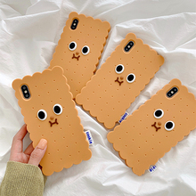 Cute Cookies Biscuit Shape Phone Cases For iPhone 7 Case 6 6s 8 Plus XS MAX XR X Soft Silicon 3D Funny Back Bag Cover