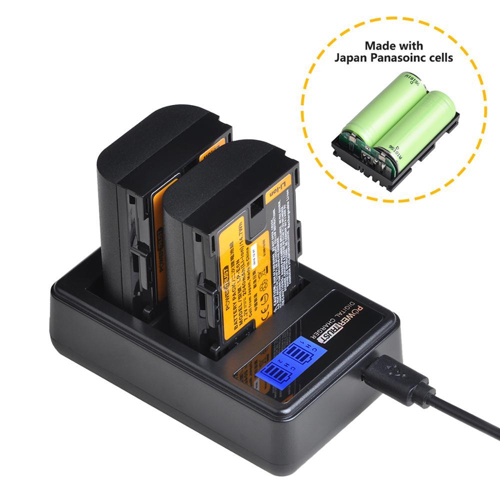 Carregador usb LP-E6 lpe6 lcd da bateria, célula japonesa + para canon eos 5d mark ii, LP-E6N marcação de ds iii, 5d mark iv, 5ds r, 6d, 7d, 7d