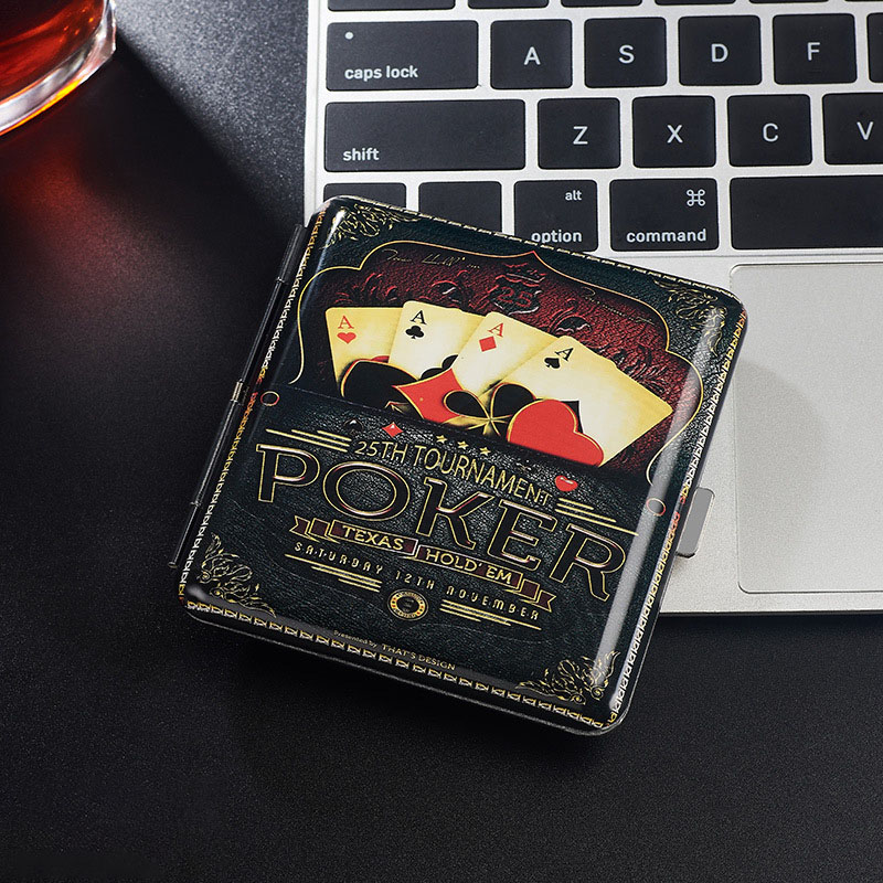1Pcs Fashion Individuality Holds 20 Cigarettes Metal Double Sided Clamshell Cigarette Case Delicate Pattern Waterproof Box