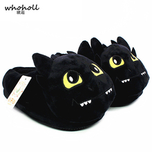 Unisex Anime Cartoon Plush Slippers How To Train Your Dragon Style Winter Warm Soft Pp Cotton Black Home Fluffy Shoes