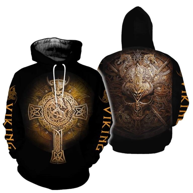 PLstar Cosmos Viking Tattoo 3D All Over Printed Shirts Tees 3D Print Hoodie/Sweatshirt/Zipper Man Women Eagle Cross Tattoo-14
