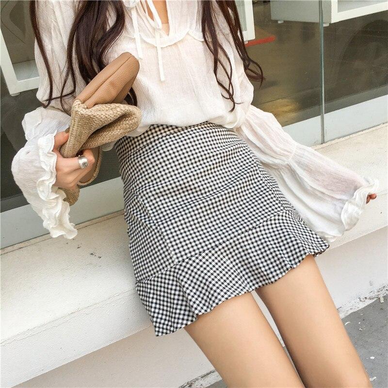 Plaid Skirt Women's 2019 Spring New Style Flounced A- Line Short Skirt High-waisted Slim Fit Slimming Sheath Fishtail Skirt