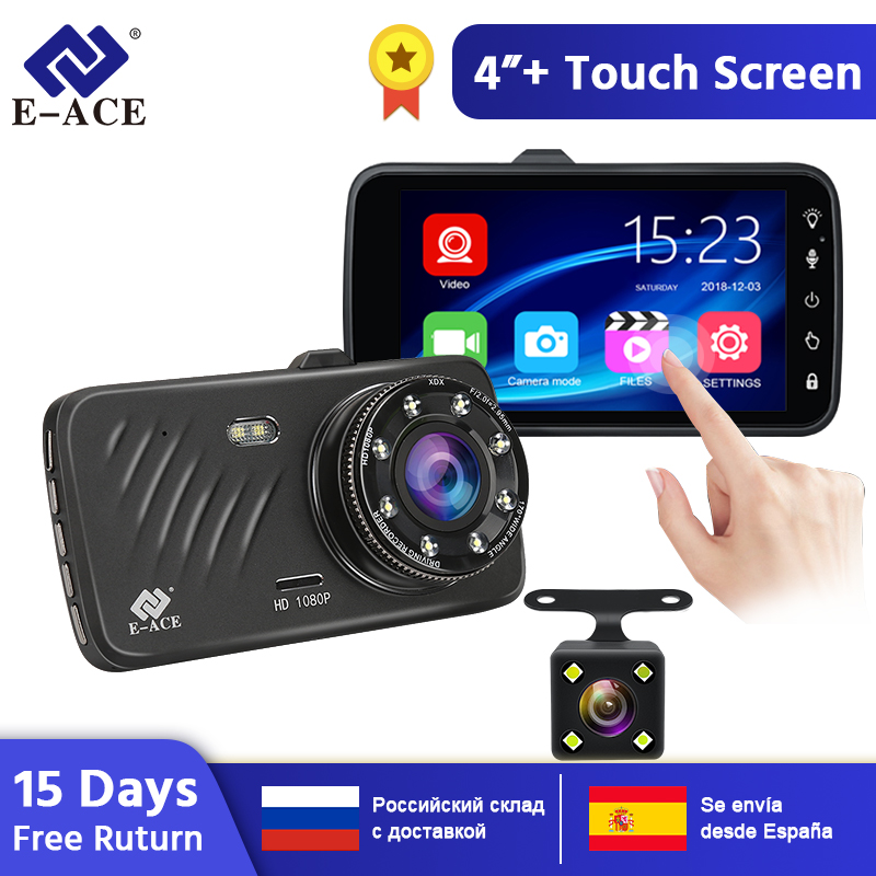 E-ACE Car DVR 4 Inch Touch Auto Camera Dual Lens Dash Cam Video Recorder FHD 1080P Registrator With Rear View Camera Dashcam