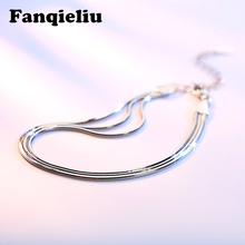 Fanqieliu 3pcs Snake Chain Silver Bracelets For Women Adjustable Real 925 Sterling Silver Bracelet Women FQL20F229 fanqieliu crystal wedding jewelry 925 sterling silver chain bracelets