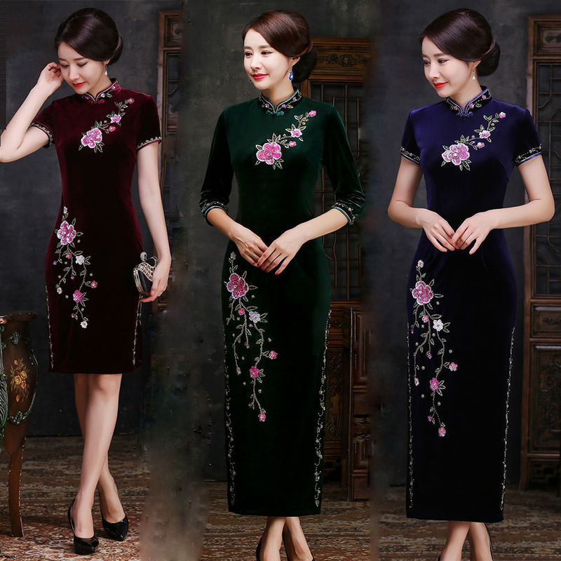 2019 New Quinceanera High-end Nail Bead Cheongsam Cultivate Morality Show Thin Long Korea Velvet Skirt Restoring Ancient Ways