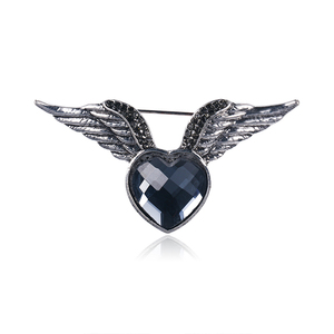 WEIMANJINGDIAN Brand New Arrival Heart Crystal and Angel Wing Brooch Pins for Women