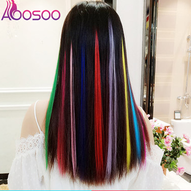 AOOSOO New Thick 1pcs Fashion Women Multi Ombre Color Long Straight Synthetic Clip In On Hair Extensions Piece Wig Headwear