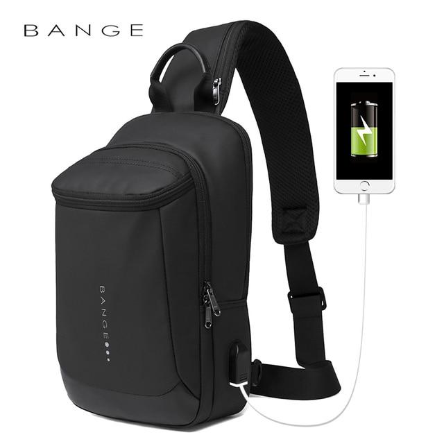 Bange New Multifunction USB Recharge Crossbody Bag for Men Shoulder Messenger Bags Male Waterproof Short Trip Chest Bag Pack
