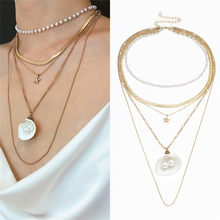 2019 New Fashion shell Pendant Chain Beach Jewelry Layer Scalloped Pearl Fringe Necklace Female Hot sale #jink(China)