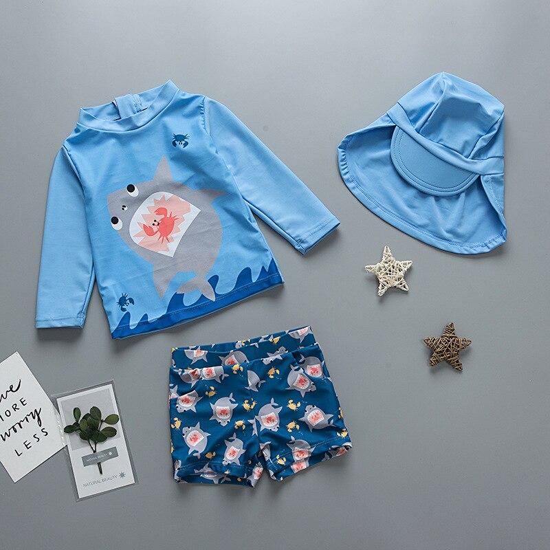 Cross Border Wholesale Chinlon KID'S Swimwear Korean-style BOY'S Split Type AussieBum Set Quick-Dry Children Long Sleeve Swimwea