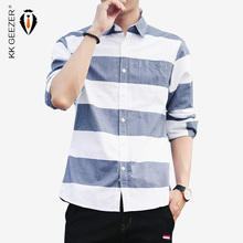 Koszula męska w paski w paski koszula w stylu męskim z długim rękawem Casual Slim Fit formalny projektant biznesowy wysokiej jakościowy duży fason Plus 4XL