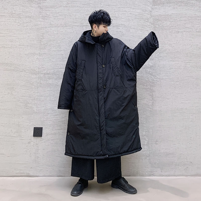 Gli Uomini di Inverno Lungo Allentato Giacca con Cappuccio Parka Cappotto Maschile Giappone Strada Scuro Nero di Cotone Imbottito di Spessore Del Cappotto Della Tuta Sportiva - 2
