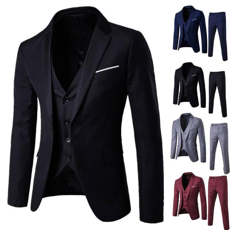 Custom Made 3pcs Business Blazer +Vest +Pants Wedding Suit Male Blazers Slim Suits Vintage Classic Blazers Male Party
