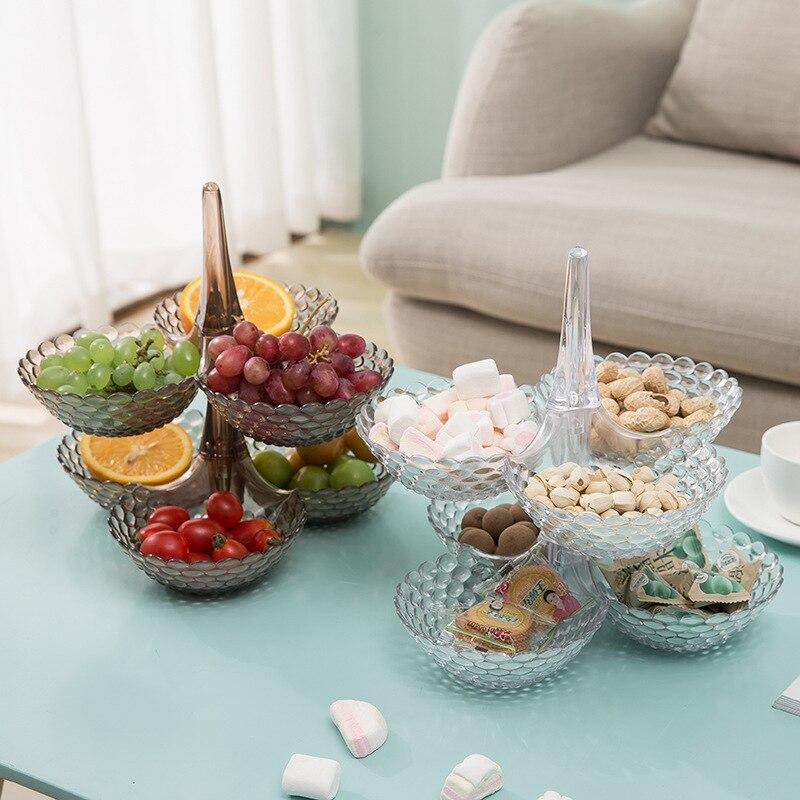 Сложенный Европейский лоток для хранения многослойная пластиковая тарелка сухофрукты закуски блюдо миска стол Закуски конфеты лотки стеллаж Органайзер