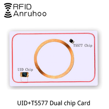5PCS RFID Smart Dual-Chip White Card UID 5577 Rewritable Copy Key 125khz 13.56Mhz Copier Clone Tag NFC Duplicator IC ID Sticker