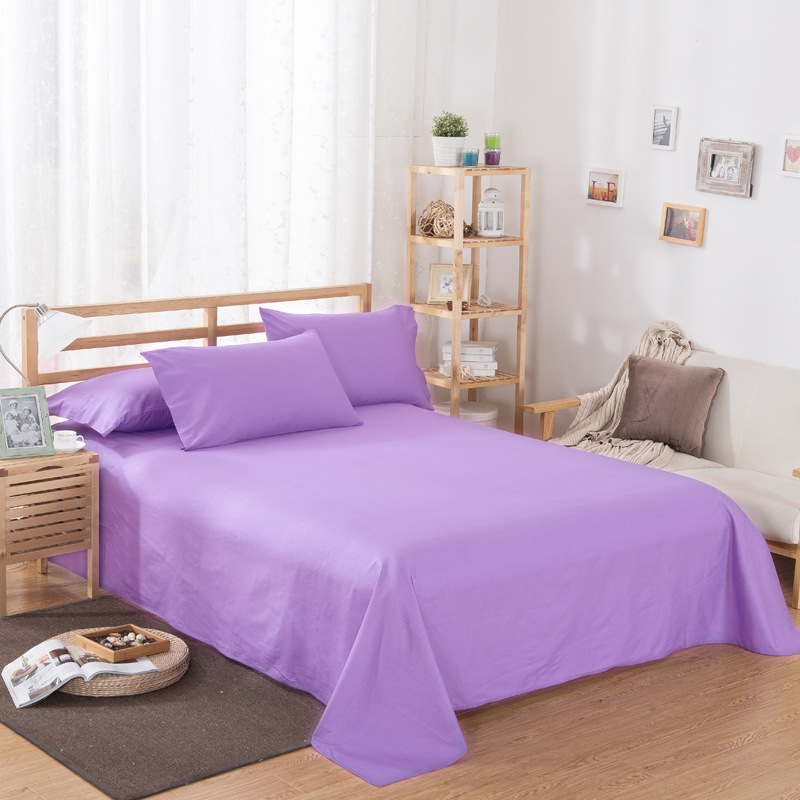 ropa de cama Solid color polyester cotton bed sheet hotel home soft brushed flat sheet queen bed cover not included pillowcase 9