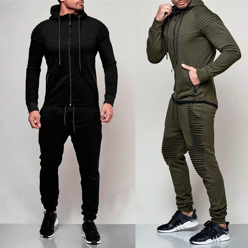 Men's Sportswear Suit Sweatshirt Tracksuit Men Fitness Casual Active Zipper Outwear Training Men Clothes Sets