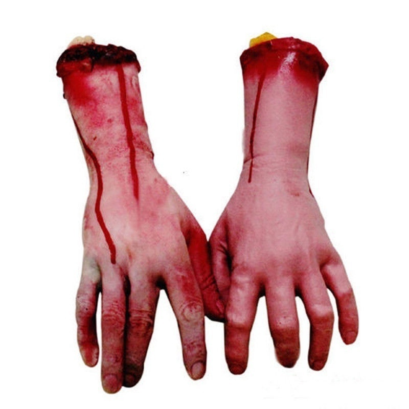 Horror Scary Halloween Prop Cut Off Bloody Fake Severed Life Size Arm Finger Haunted House Decor